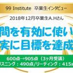 2018年12月卒業生インタビュー第4弾 600点→905点